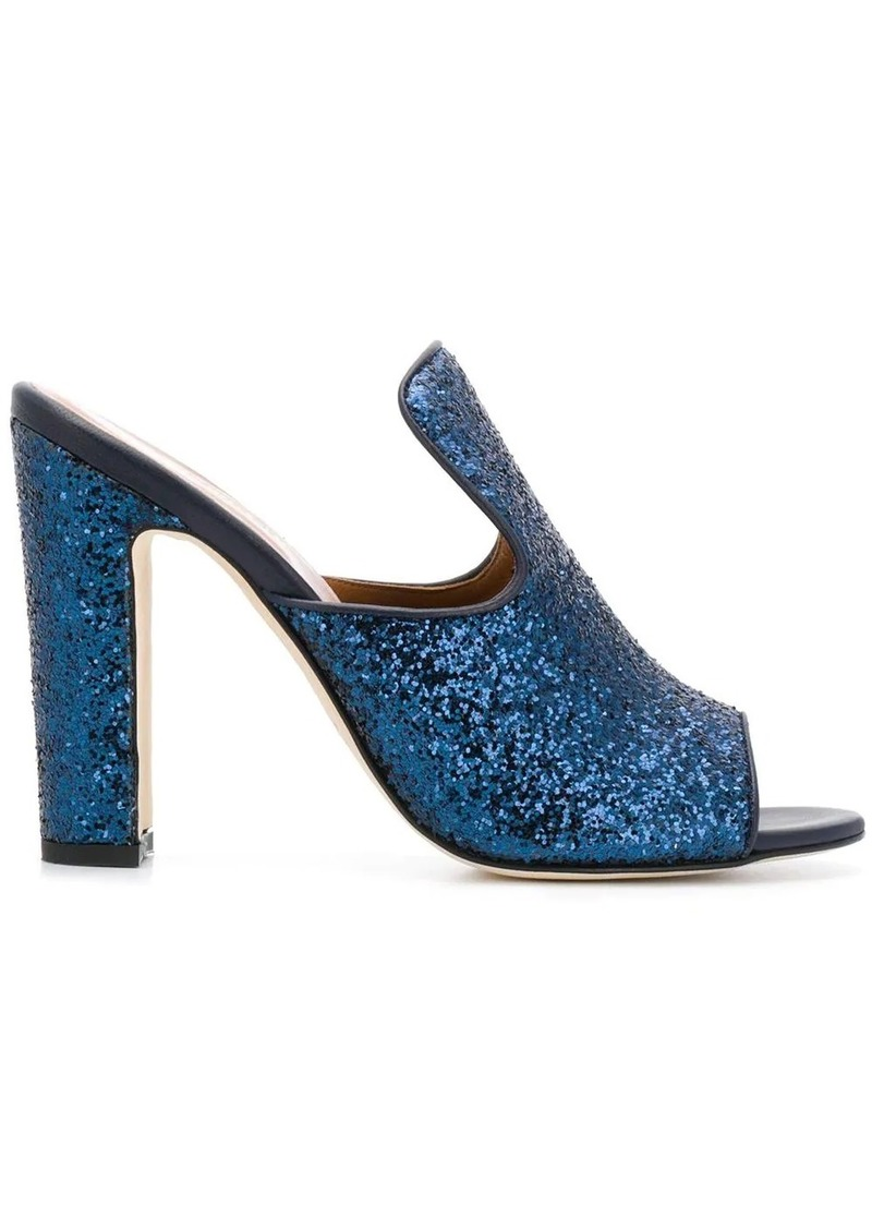 block heel glittered mules