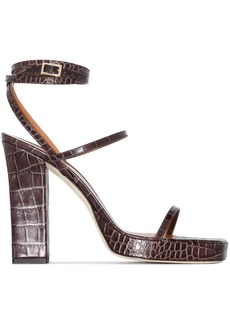 Paris Texas Bianca 110mm crocodile-effect sandals