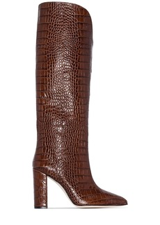 Paris Texas 100mm crocodile-effect knee-high boots