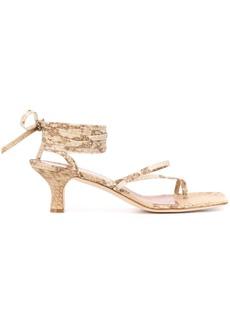 Paris Texas embossed wrap-tie sandals