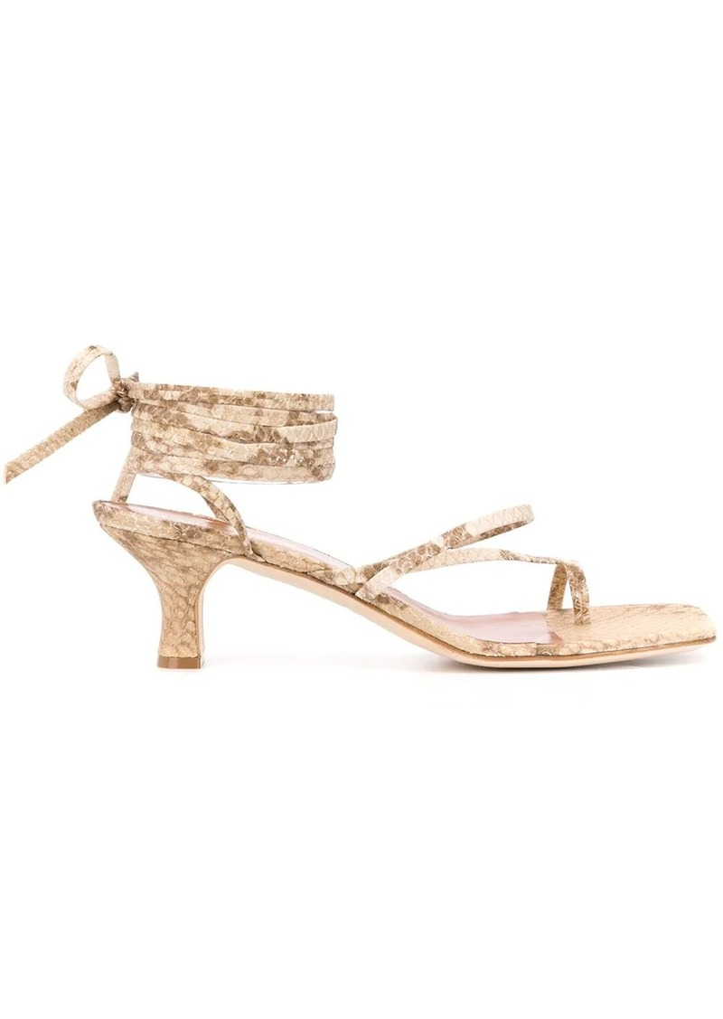 embossed wrap-tie sandals