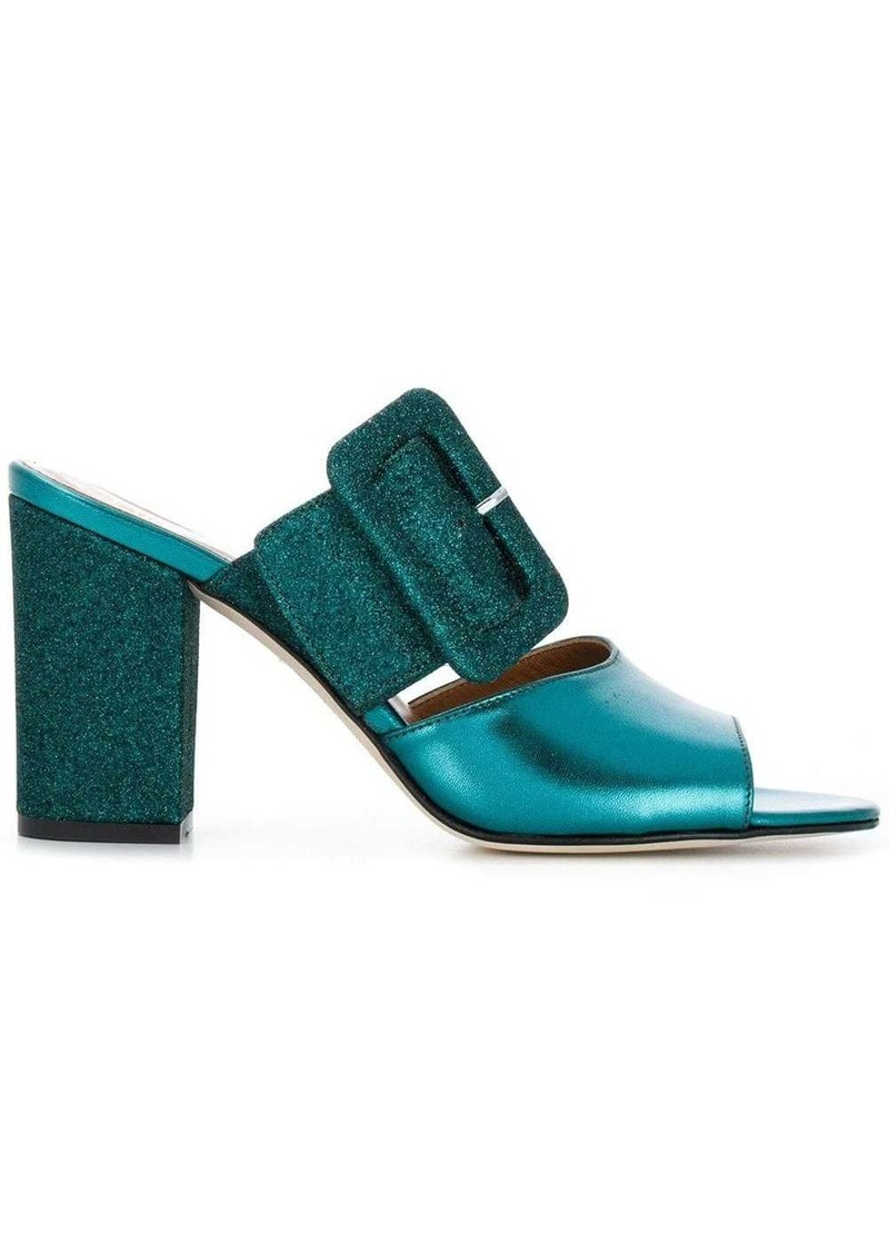Paris Texas glitter buckle mules