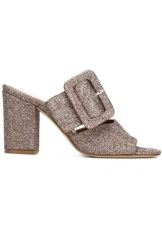 Paris Texas glitter buckled mules