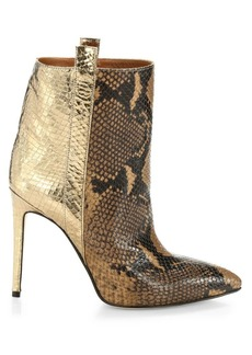 Paris Texas Metallic Snakeskin-Print Leather Stiletto Booties