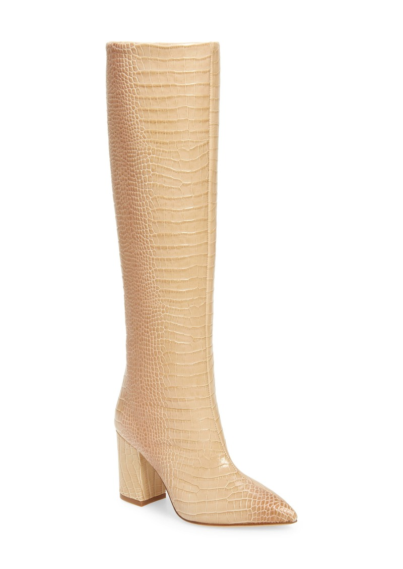 Paris Texas Croc Embossed Knee High Boot (Women)