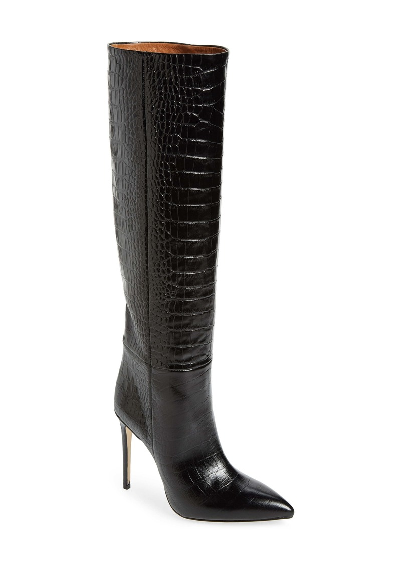 Paris Texas Croc Embossed Pointed Toe Boot (Women)
