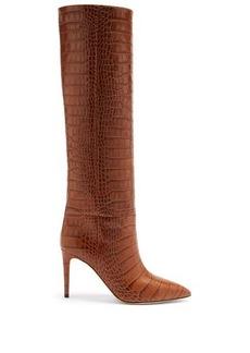 Paris Texas Crocodile-effect leather knee-high boots