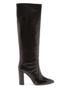 Paris Texas Knee-high crocodile-effect leather boots