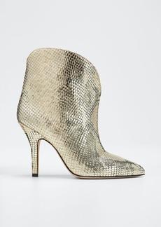 Paris Texas Metallic Python-Print Heeled Ankle Boots
