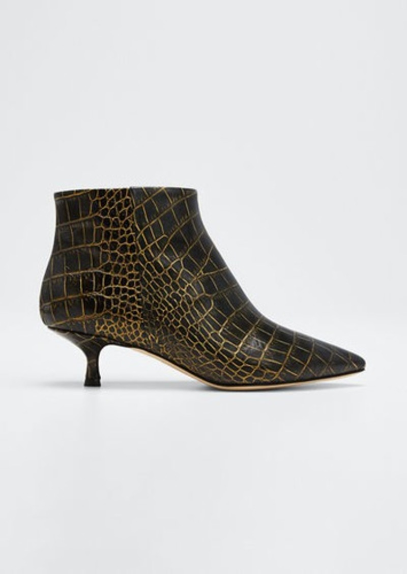Paris Texas Moc Croc Kitten-Heel Booties