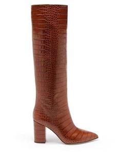 Paris Texas Point-toe crocodile-effect leather knee boots
