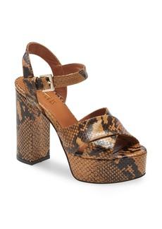 Paris Texas Python Embossed Platform Sandal (Women)