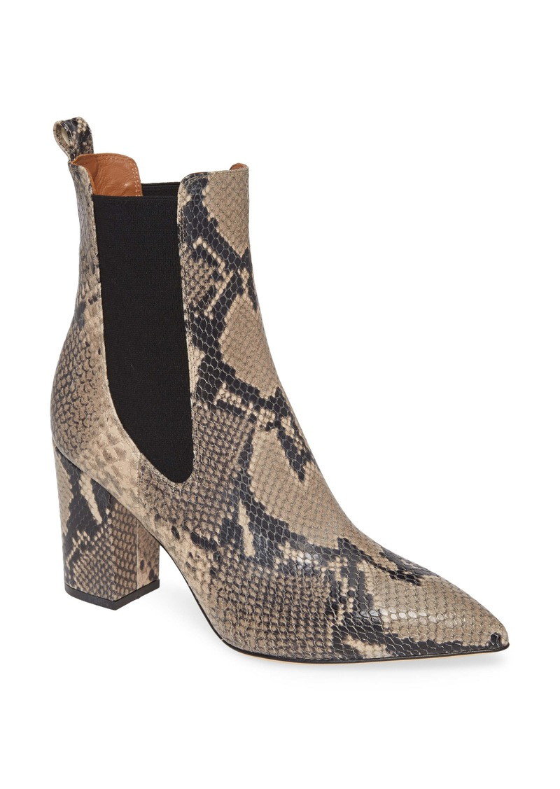Paris Texas Python Print Block Heel Bootie (Women)