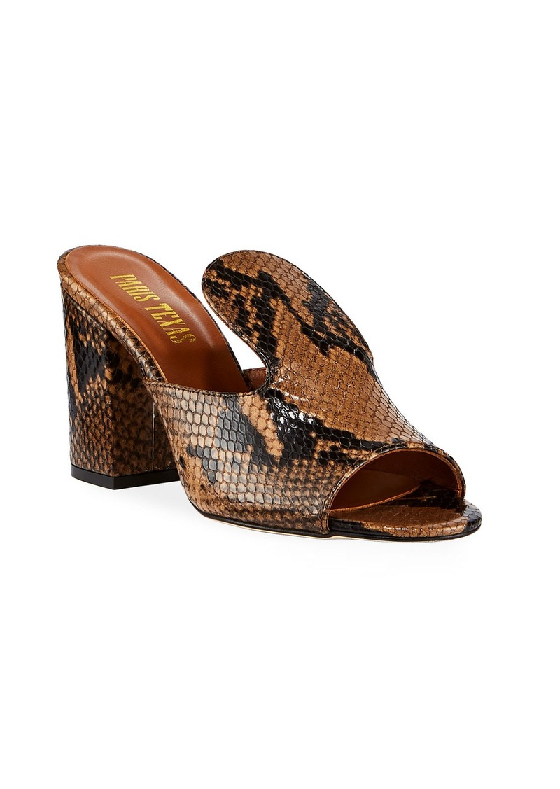 Paris Texas Snake-Print Slide Mules