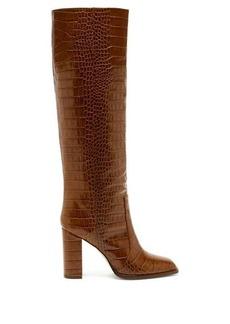 Paris Texas Square-toe crocodile-effect leather knee boots