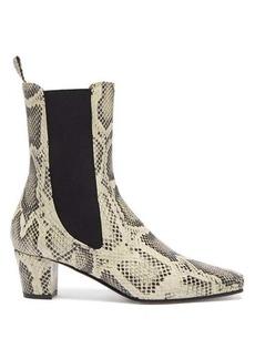 Paris Texas Square-toe python-effect leather Chelsea boots