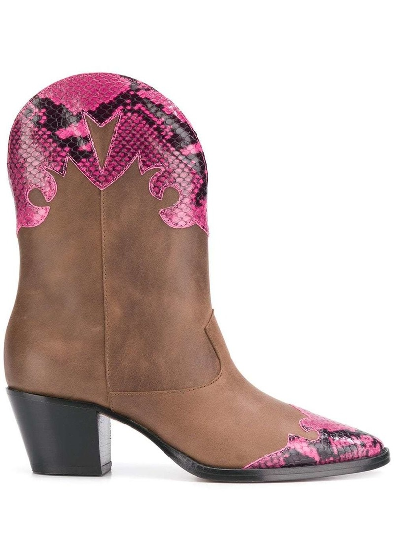 python effect panel Western boots