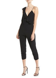 Parker Addison Sleeveless Ruffle Cropped Straight-Leg Jumpsuit