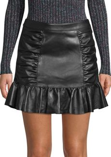 Parker Alexandra Leather Ruched Skirt