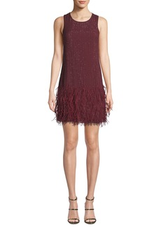 Parker Allegra Beaded Mini Dress with Feather Hem