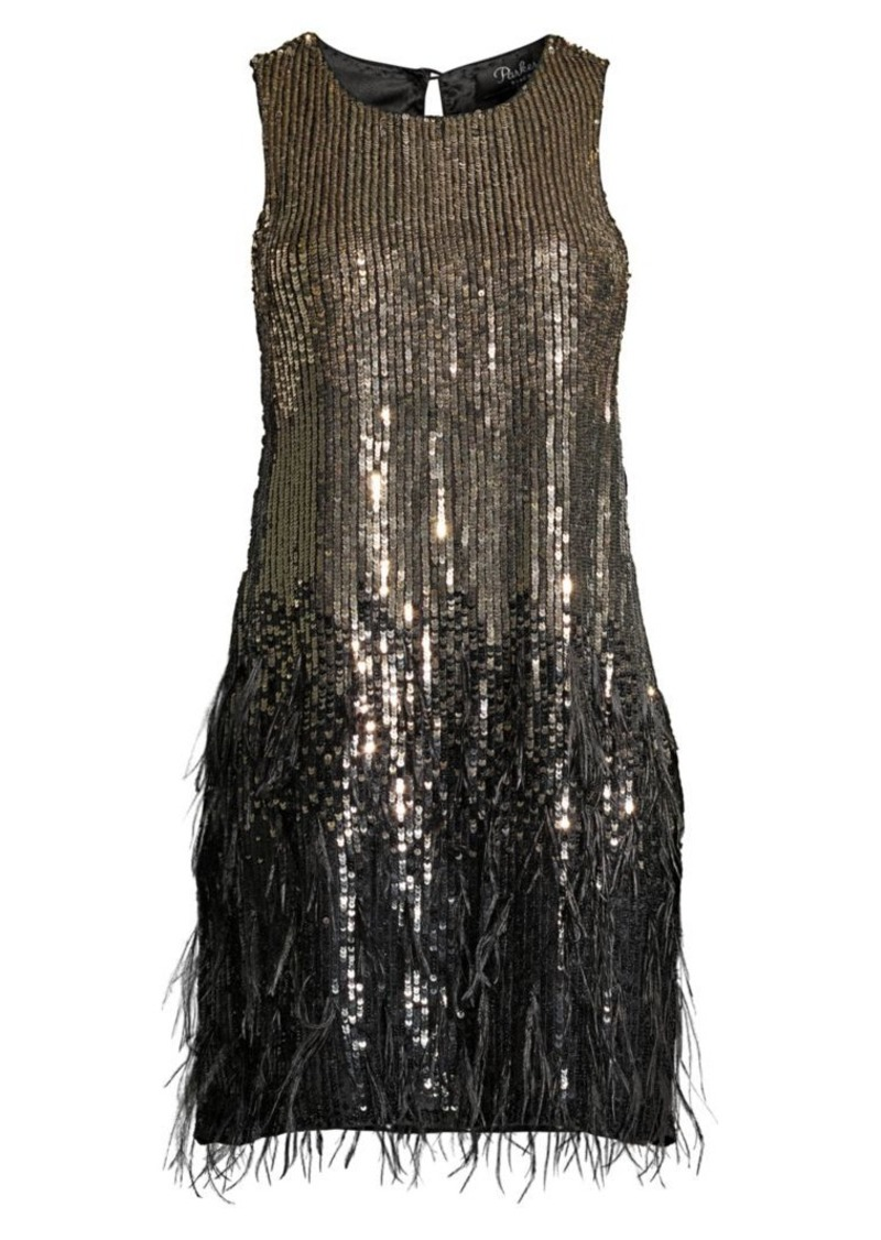 Parker Allegra Feather-Trim Sequin Dress