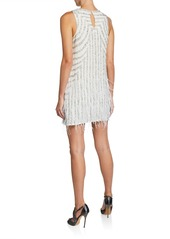 Parker Allegra Motif Beaded Georgette Sleeveless Shift Dress with Feathers
