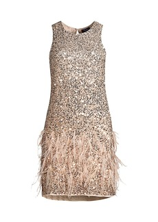 Parker Allegra Sequin & Feather Shift Dress