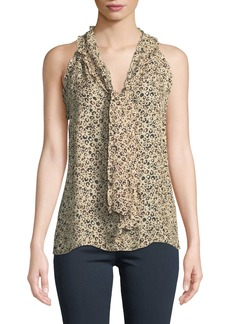 Parker Allie Animal-Print Tie-Neck Silk Top