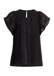 Parker America Embroidered Flounce-Sleeve Top