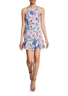 Parker Amina Floral-Print Mini Halter Dress