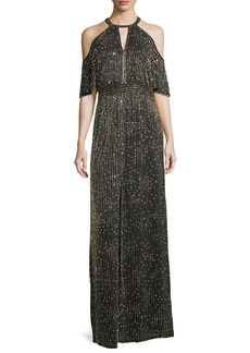 Parker Amy Beaded Cold-Shoulder Evening Gown