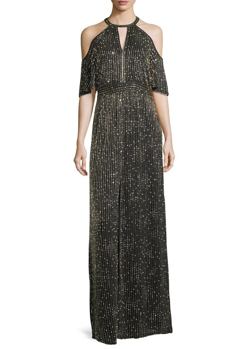 Parker Amy Beaded Cold-Shoulder Evening Gown | Dresses