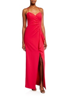 Parker Andy Sweetheart Side-Drape Column Gown