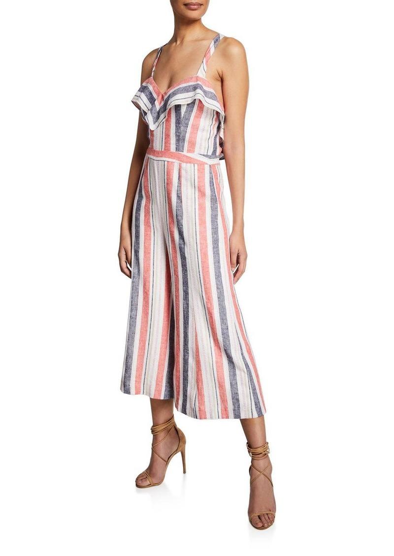 Parker Angie Striped Linen Wide-Leg Jumpsuit