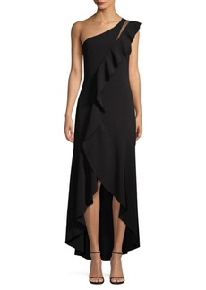 Parker Anne One-Shoulder Asymmetric High-Low Ruffle Dress