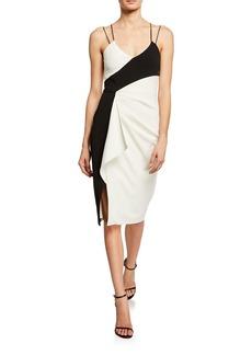 Parker Arlene Colorblock Ruffle Side Sheath Dress