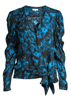 Parker Arya Floral Pinch-Sleeve Blouse