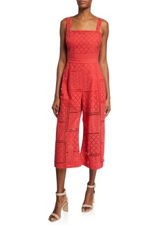 Parker Ashton Sleeveless Tie-Back Eyelet Crop Jumpsuit