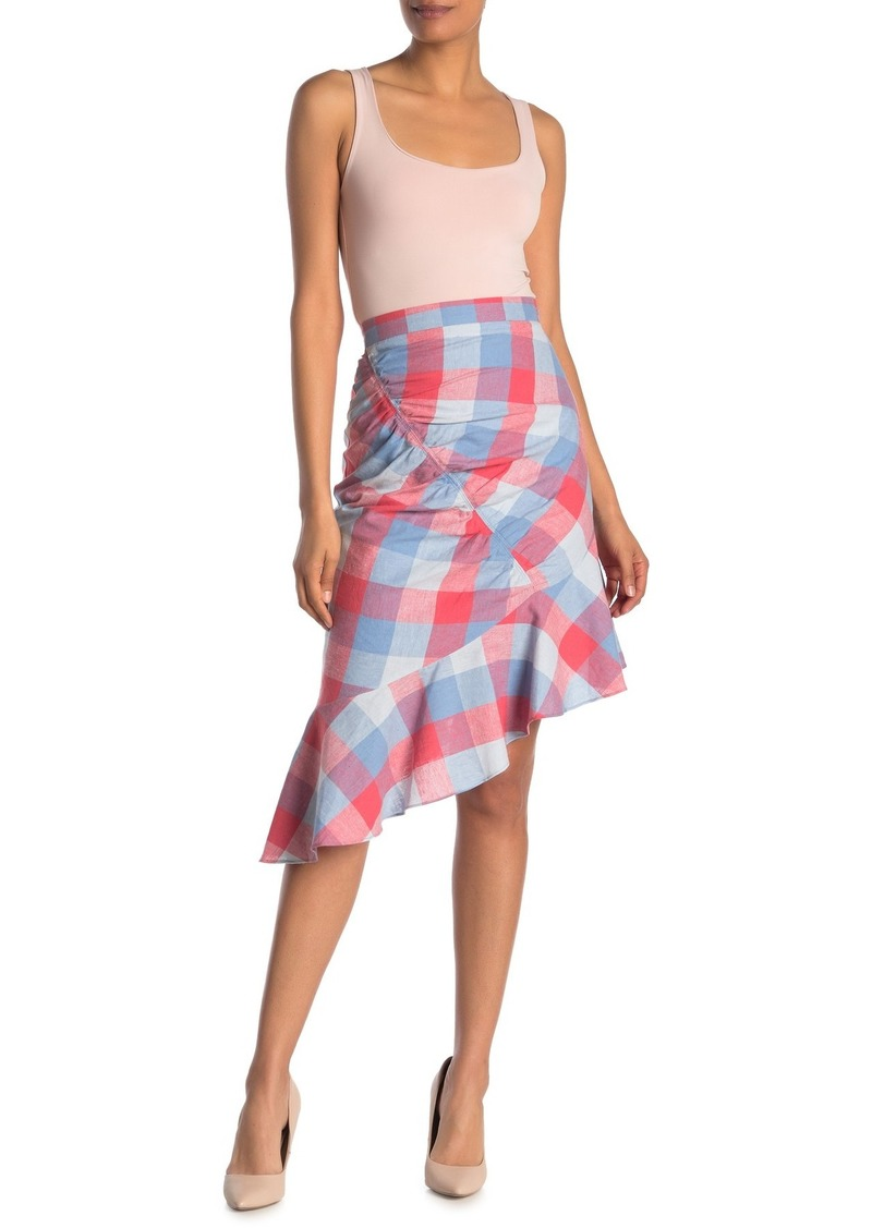 Parker Astrid Plaid Print Linen Blend Asymmetrical Hem Skirt