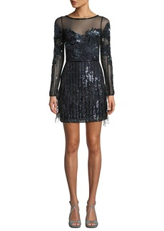 Parker Bailey Beaded Long-Sleeve Bateau-Neck Illusion Mini Dress