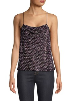Parker Beaded & Sequined Cowlneck Camisole