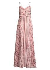 Parker Beatrix Pleated Chiffon Maxi Dress