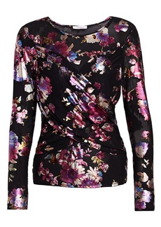 Parker Billy Metallic Floral Draped Top