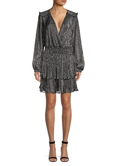 Parker Briana Lurex Ruffled Wrap Dress