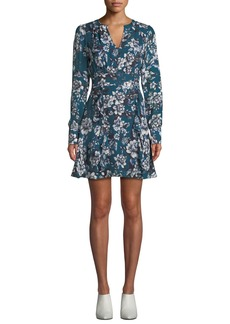 Parker Brooke Floral-Print Flounce Short Dress