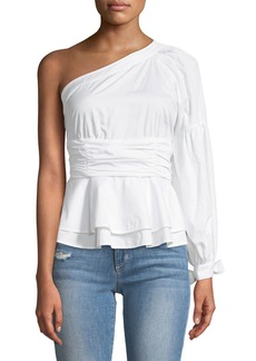 Parker Burch One-Sleeve Peplum Blouse
