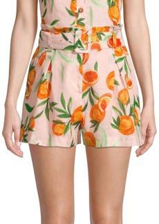 Parker Carlo Orange Print Linen Shorts