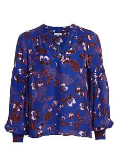 Parker Carmela Silk-Blend Floral Blouse
