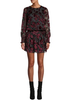 Parker Carmindy Floral Velvet Long-Sleeve Short Dress