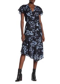 Parker Cascading Ruffle Printed Midi Dress
